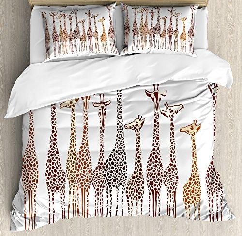 Lunarable Safari Duvet Cover Set, Tropical Giraffes Exotic Climates Wilderness Savannah Animals Illustration, Decorative 3 Piece Bedding Set with 2 Pillow Shams, Queen Size, Brown