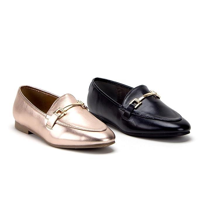 Amazon.com | Jaime Aldo Womens Hoppy-1 Horsebit Slip On Slides Flats Loafers Dress Shoes | Loafers & Slip-Ons
