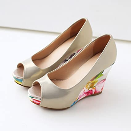 5e9d96a65aa97 Women s Shoes PU Summer Heels Wedge Heel Peep Toe Women Shoes Fish Mouth  White