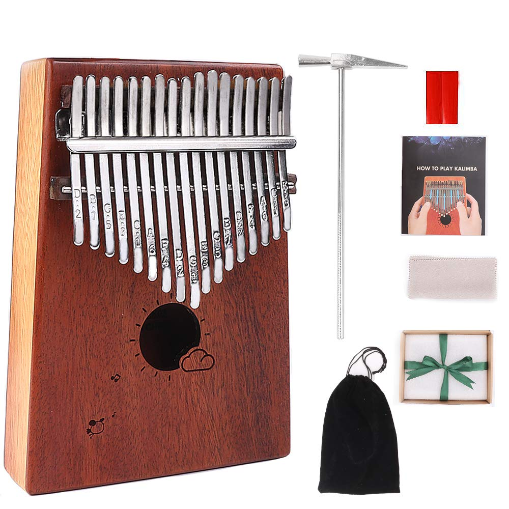 MAXEDOD Kalimba 17 Keys Thumb Piano Mahogany Portable Finger Piano Mbira 17 Tone Musical Toys with Tuning Hammer and Study Guide, Cloth Bag, Best Gift for Kids, Adults, Beginners