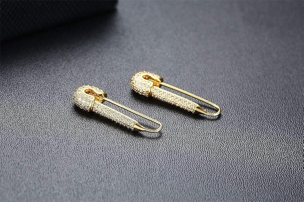 Bobury 1 par Unisex Punk Safety Pin Style Ear Hook Stud Simple Pendientes /únicos