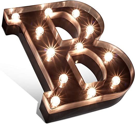 Glintee LED Marquee Letter Lights Black Alphabet Light Up Sign for Wedding Home Party Bar Decoration Battery Powered Letter Decor-B