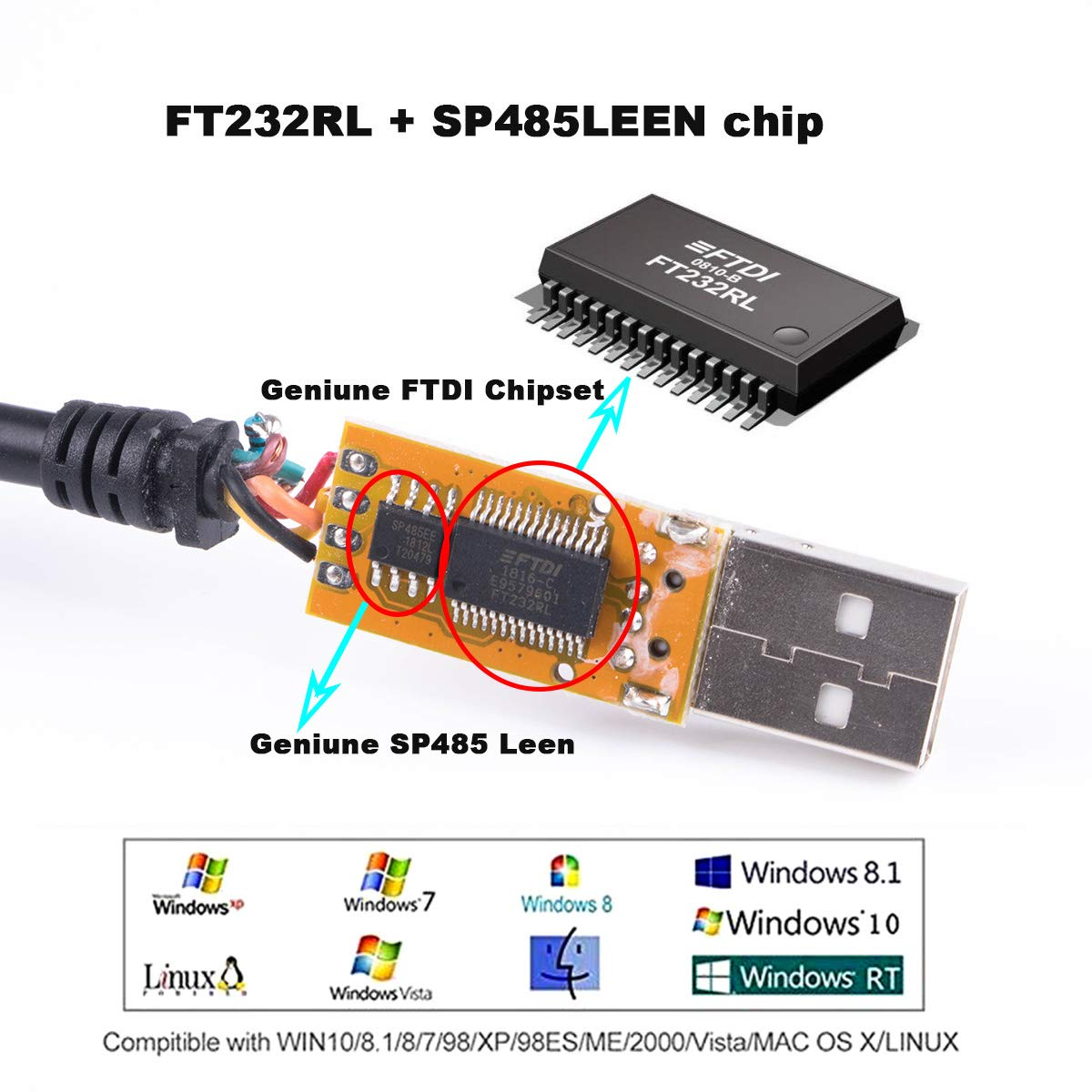 USB to RS485 Serial Cable FTDI Chipset Data Adapter Converter Cable Compatible for USB-RS485-WE-1800-BT Support Win7 8 10 XP Android Mac Linux Black USB Housing
