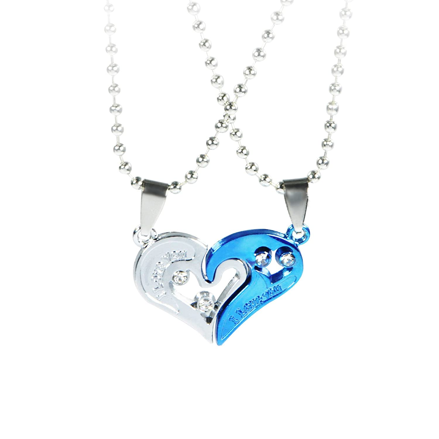 Blue-Silver Elechobby Valentines Day Lover Couple Pendant Necklace Love Heart I Love You Puzzle Matching
