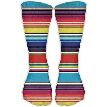 Custom Funny Stockings Colorful Mexican Blanket Stripes Stoking Crew Girls  Boys Knee Long Socks Travel Breathable abc0b43130