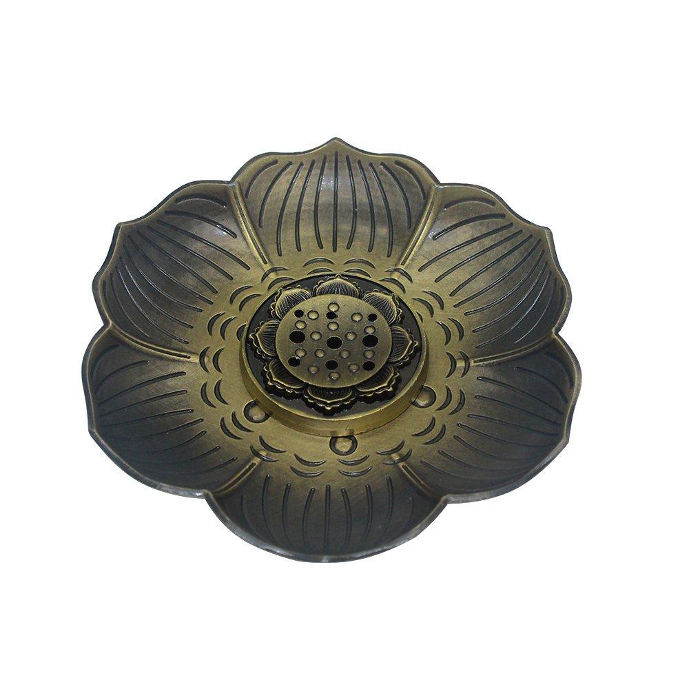 in bronzo motivo loto MyLifeUNIT Bruciatore porta incenso per coni o spirali di incenso