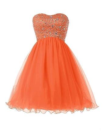 Elinadress Short Beaded Homecoming Dress Tulle Sweetheart Prom Dress Lace Up Back (Orange)