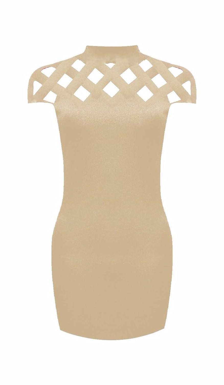 Women Laser Cut Neck Bandage Bodycon Mini Dress