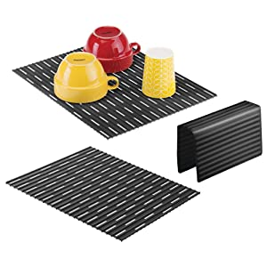 mDesign Large Kitchen Sink Protector Mat Pad Set, Quick Draining - Use In Sinks to Protect Surfaces and Dishes Combo - Ribbed Design - Includes 1 Sink Saddle, 2 Sink Mats - Set of 3 - Black