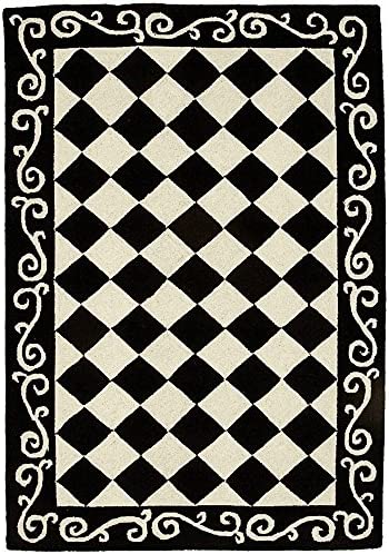 Safavieh Chelsea Collection HK711A Hand-Hooked Black and Ivory Premium Wool Area Rug 3 9 x 5 9