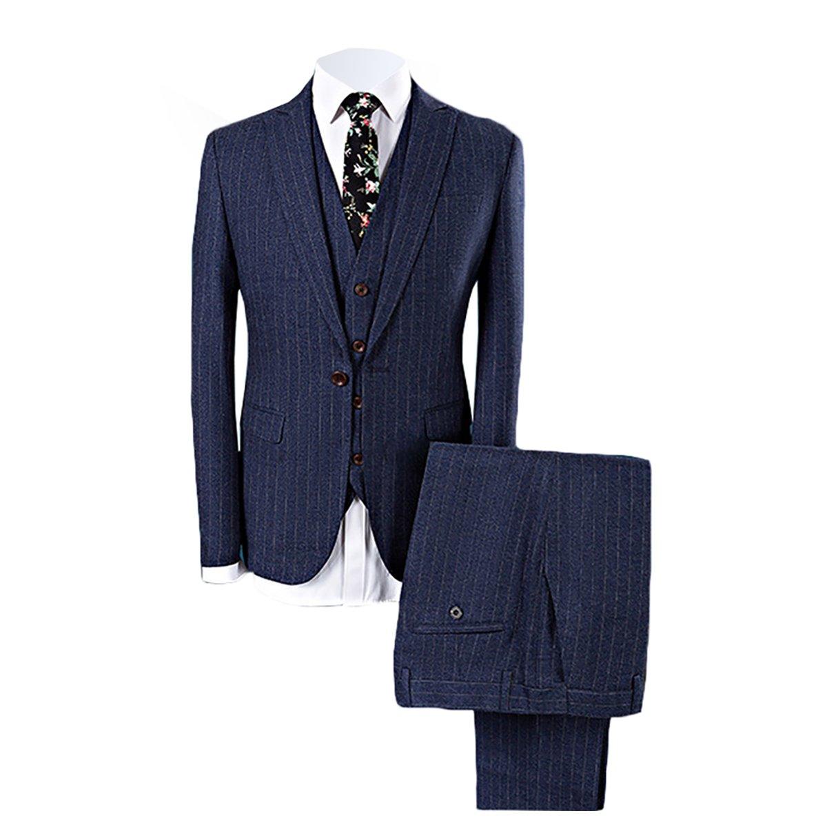 WEEN CHARM メンズ スーツスリーピース ブルー ネイビー B076J8D2F4 M|ネイビー ネイビー M