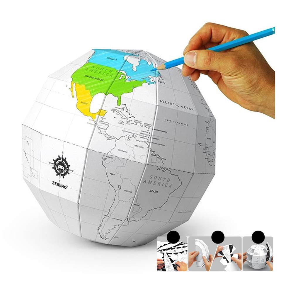 Easy DIY Assembly 3D Paper Coloring Globe (an Interesting Learning) by For Fun