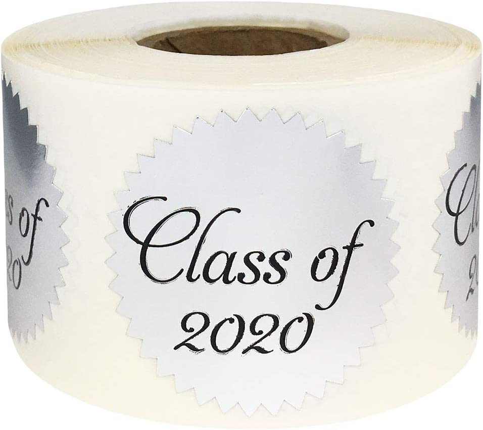 Class of 2020 Stickers Graduation Seals Metallic Silver 1.5 Inch 500 Adhesive Labels
