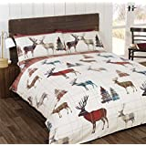 STAG TREE PLAID CHECK RED CREAM CANADIAN QUEEN SIZE (230CM X 220CM - UK KING SIZE) COTTON BLEND REVERSIBLE DUVET COMFORTER COVER
