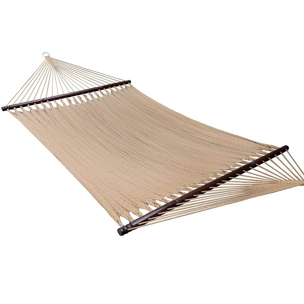Caribbean Rope Hammock, Large Soft-Spun Polyester Double Net Caribbean Hammock with Spreader Bars for Outdoor Garden Patio, Yard and Porch, 450 lbs Capacity Brown