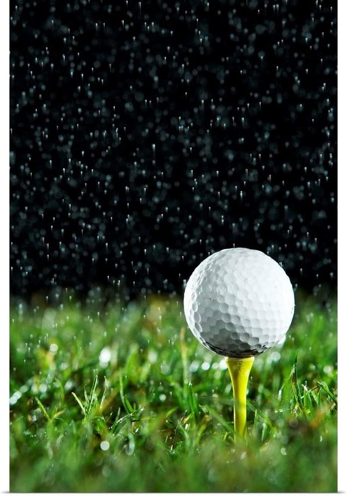 Amazon Com Greatbigcanvas Golf Ball On Tee In Rain Fine Art Poster Print Golf Home Decor Artwork 12 X18 Posters Prints