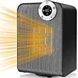 Space Heater, Portable Electric Ceramic Heaters for Office, Quiet Personal Heaters Under Desk, 1000/1500W Oscillating Floor Heater with Digital Thermostat,Tip-over&Overheating Protection for Home,Room