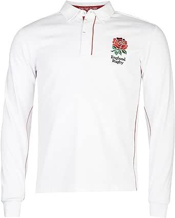 RFU Hombre England Mangas Largas Rugby Jersey Camiseta Deporte ...