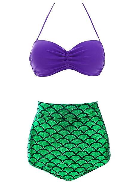 JapanAttitude Traje de baño Bikini Sirena Verde y púrpura ...