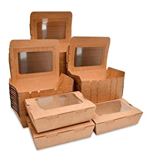 Disposable brown Kraft Paper Box with Transparent cover containers 71 Ounces (7.6X 5.5 x 2.5 inches)50 Packs Recyclable Lunch Box Food Container restaurant takeout eco friendly to go boxes (Kraft paper box with window)