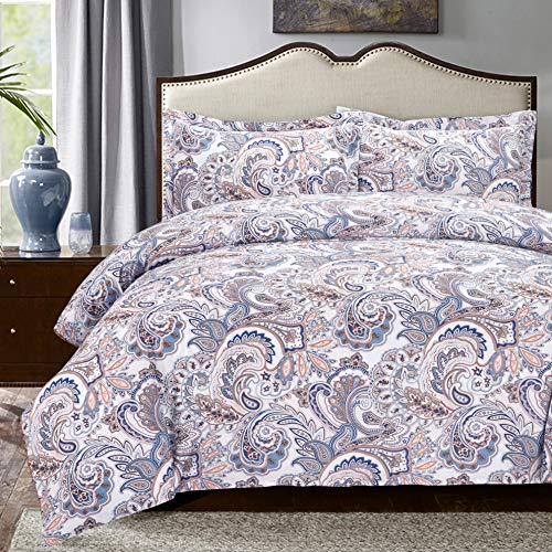- Moonleaf Paisley 3 pc Cotton Printed Bedding Set, 1 Duvet Cover & 2 Pillow Shams with Classic Paisley Pattern. (Queen)