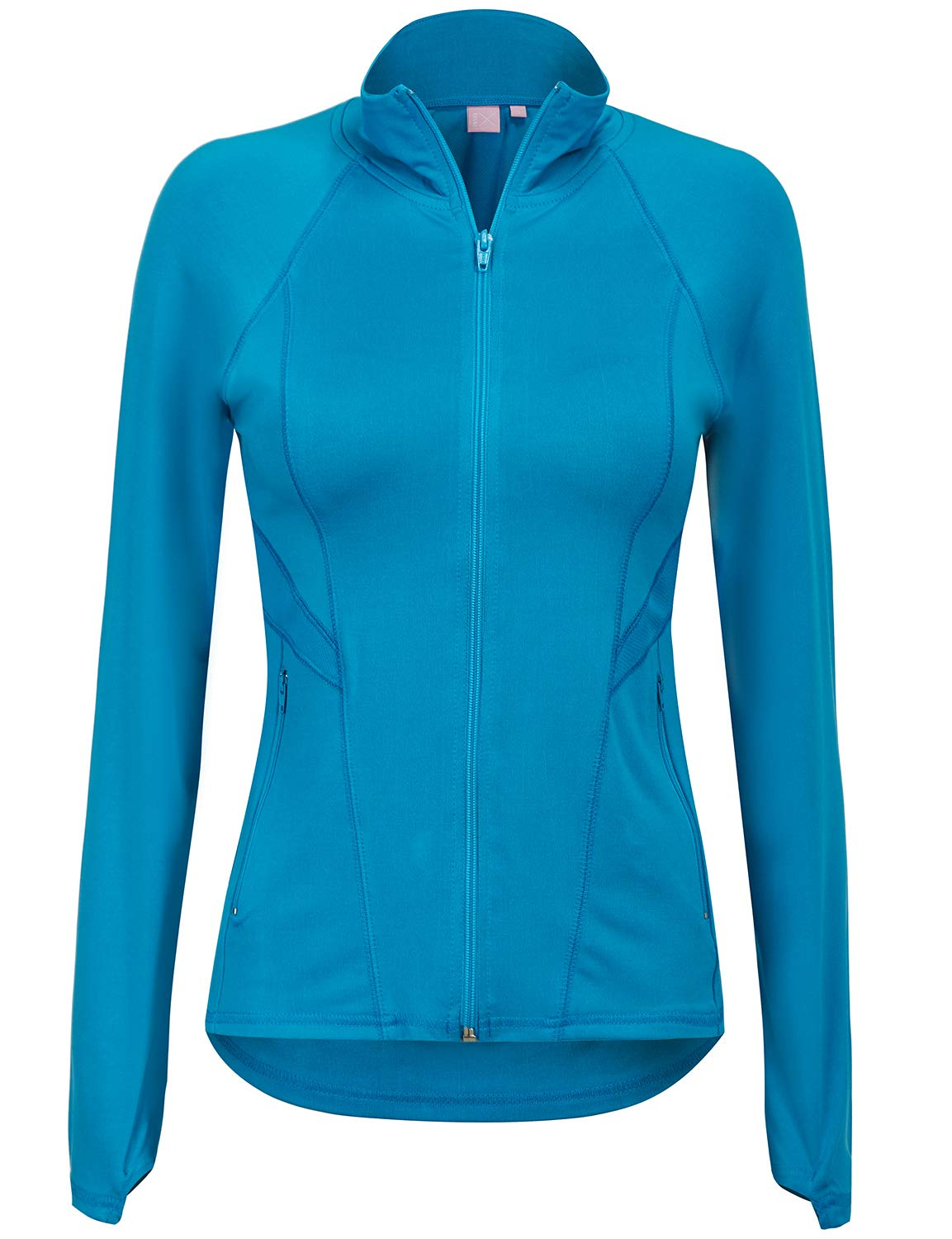 Regna X Women's Full Zip Up Activewear Stretchy Spandex Track Jacket Blue S