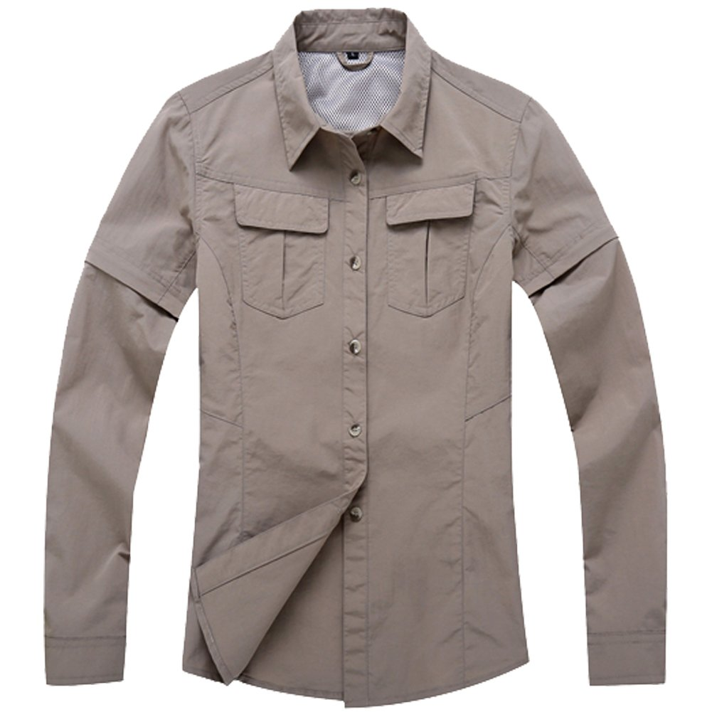 Jessie Kidden Women's Quick Dry Sun UV Protection Convertible Long Sleeve Shirts for Hiking Camping Fishing#0805-Khaki,US M