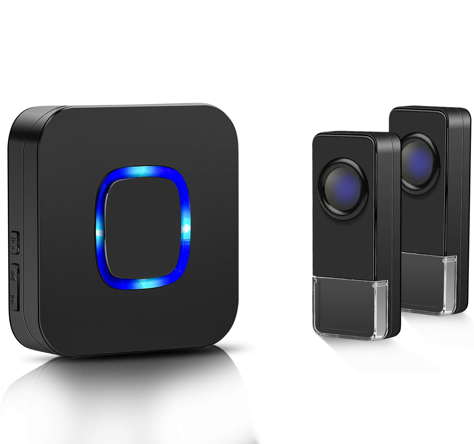 Coolqiya Wireless Doorbells Chimes Kit for Home with 2 Remote Transmitters and 1 Plug in Receiver