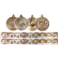 Jogo 18 Bolas Natal Mista Textura Arabescos Rena Champagne 8cm - Master Christmas