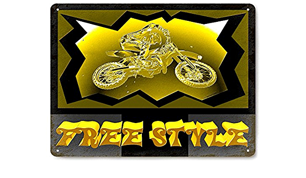 VINTAGE STYLE METAL MOTORCYLE SIGN Motocross 14 x 14