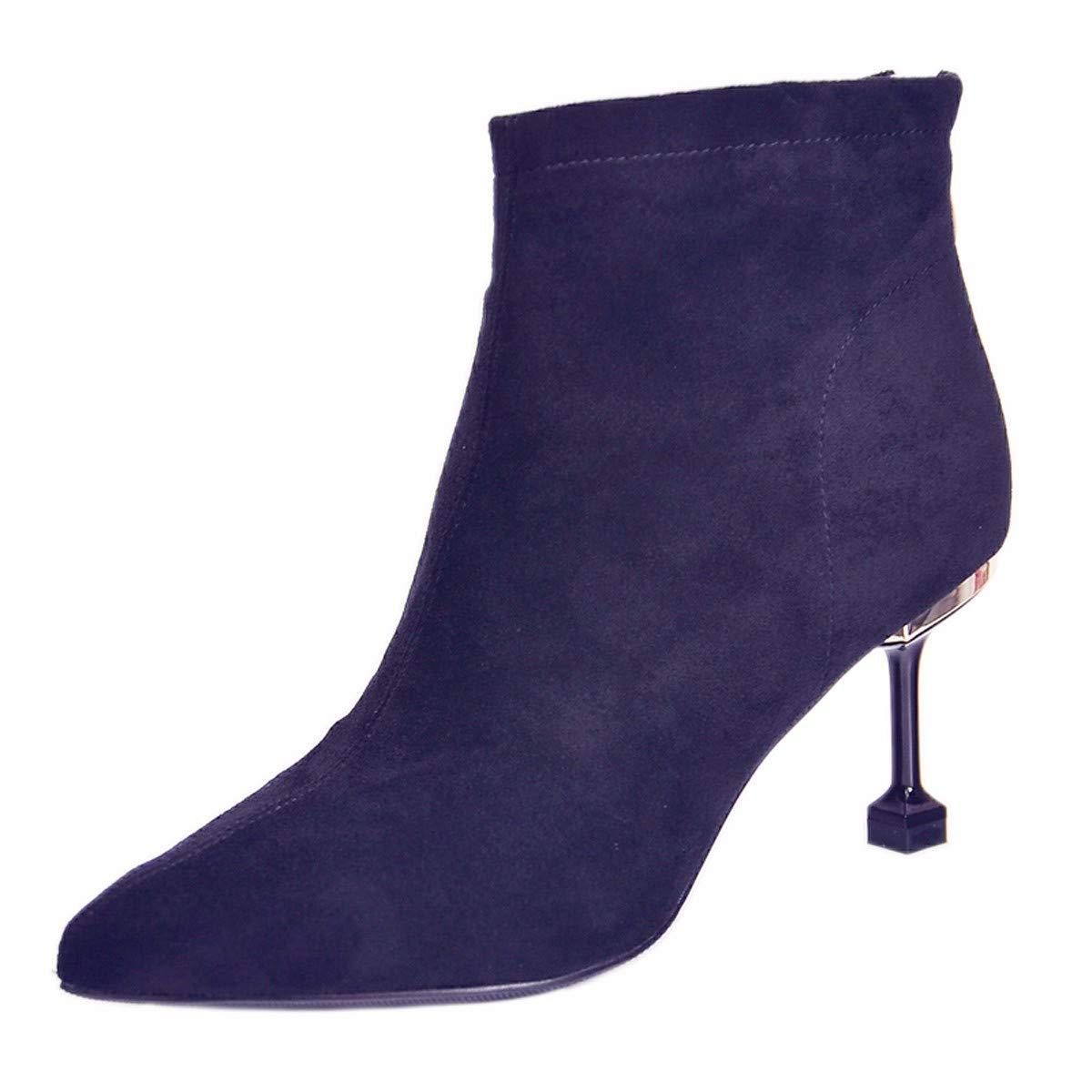 AJUNR Modische Arbeit Damenschuhe Kurze Stiefel mit hohen 7cm Mode scharfen dünnen sexy Katze und Mode Stiefel