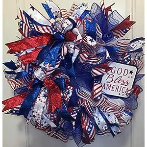 Patriotic Front Door Wreath | 4th of July Wreath | Memorial Day Wreath | Veterans Day Wreath | Patriotic Wreath for Front Door | Deco Mesh Wreath | Deco Mesh Door Wreath | Summer Door Wreath 45
