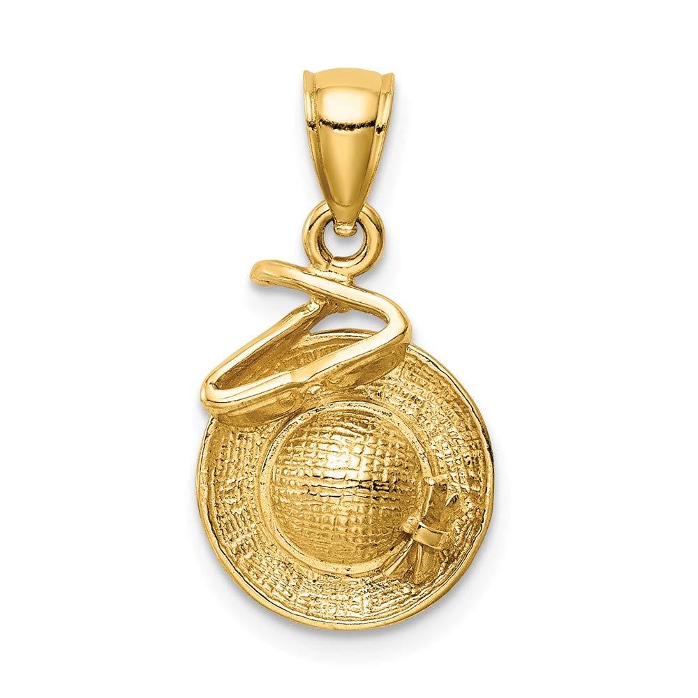 14k Yellow Gold Sunhat Pendant