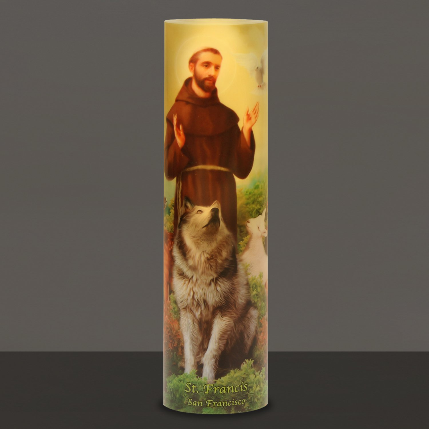 Saint Francis, LED Flameless Devotion Prayer Candle, 6 Hour Timer, Religious Gift The Saints Gift Collection C-8008