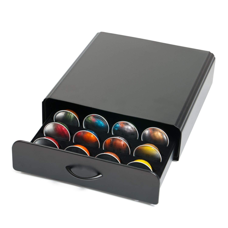 Home Treats Vertuo Coffee Pod Holder 20 Capsule vertuoline Coffee Pod Drawer Carbon Black