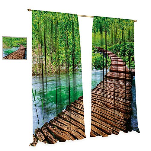 Anniutwo Landscape Thermal Insulating Blackout Curtain Nostalgic Hand Made Oak Pathway Over The Creek Water Heads into South Europe Patterned Drape for Glass Door W72 x L108 Green Brown
