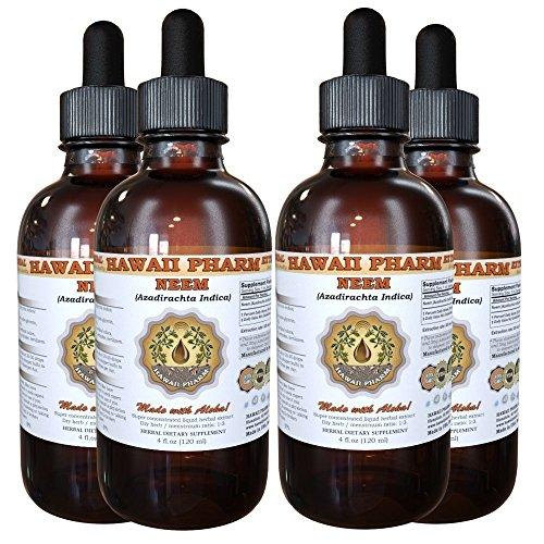 Neem Liquid Extract, Organic Neem (Azadirachta indica) Tincture Herbal Supplement, Hawaii Pharm, Made in USA, 4x4 fl.oz by HawaiiPharm