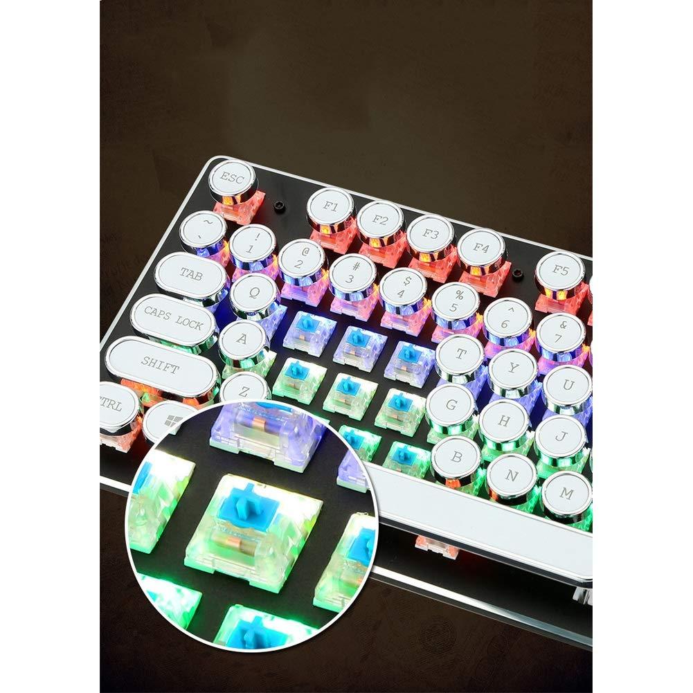 Teclado mecánico con Teclado numérico de Tipo máquina de Escribir Vintage de 104 Teclas con interruptores Cian (Color : White Plating keycap): Amazon.es: ...