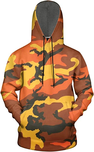 TYUING 3D Printed Mens Hoodie Drawstring Design Warm Camouflage Long Sleeve Hooded Sweatshirts