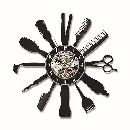 Peluquería Peluquería Salón Vinilo Registro Reloj De Pared Arte Decoración Para El Hogar Regalo De Mujer