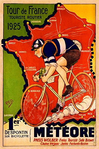 (Bicycle Bike Race Tour de France 1925 Meteore French Map Vintage Poster Repro 24