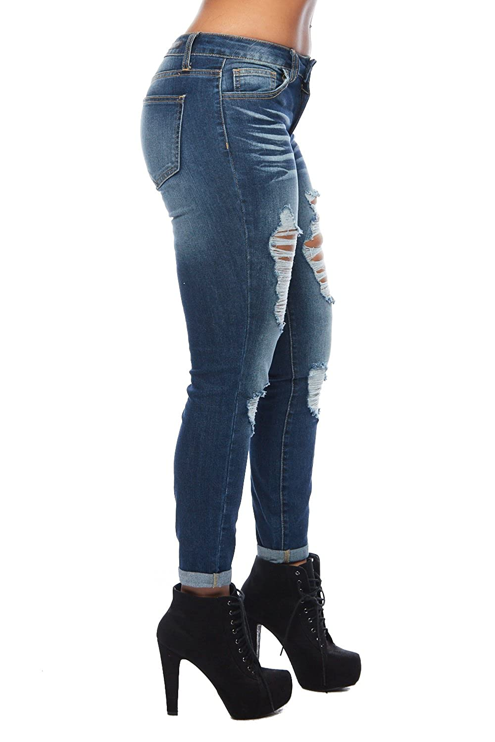 GENx Womens Rolled Up Destroyed Washed Skinny Casual Jeans WV74099