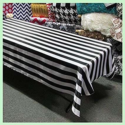 Fabricbydesign Cotton 2 Inch Black U0026 White Stripes Tablecloth For  Party,Wedding,Bridal Shower