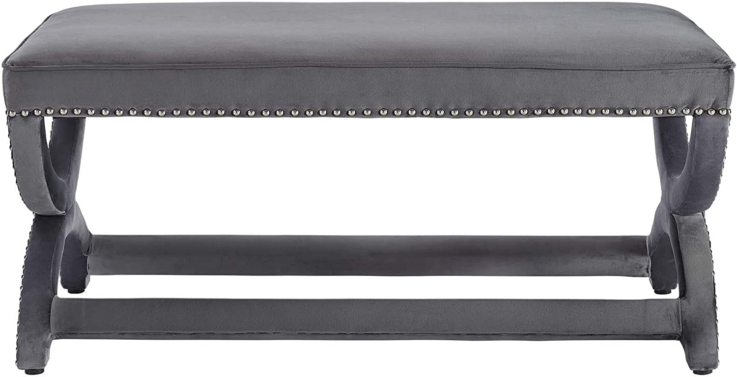 Modway Expound Performance Velvet Upholstered Nailhead Trim Accent Entryway Bench in Gray