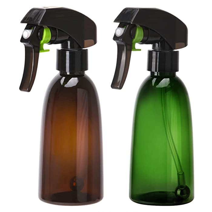2 Packs Empty Plant Spray Bottle, 200ml 360°All-Angle Refillable Fine Mist Empty Water Sprayer with Steel Ball for Flower Garden, Barber Hairstyling, Household Cleaning (Amber+Green)