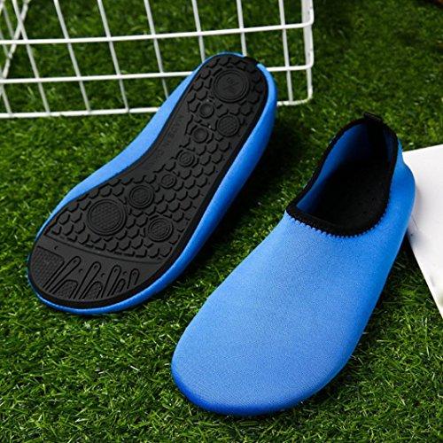 BBring Surfschuhe Badeschuhe Wasserschuhe Sommer Einfarbig Schnell Trocknend Schwimmschuhe Slip On Aquaschuhe Yoga Strandschuhe für Jungen Mädchen Blau