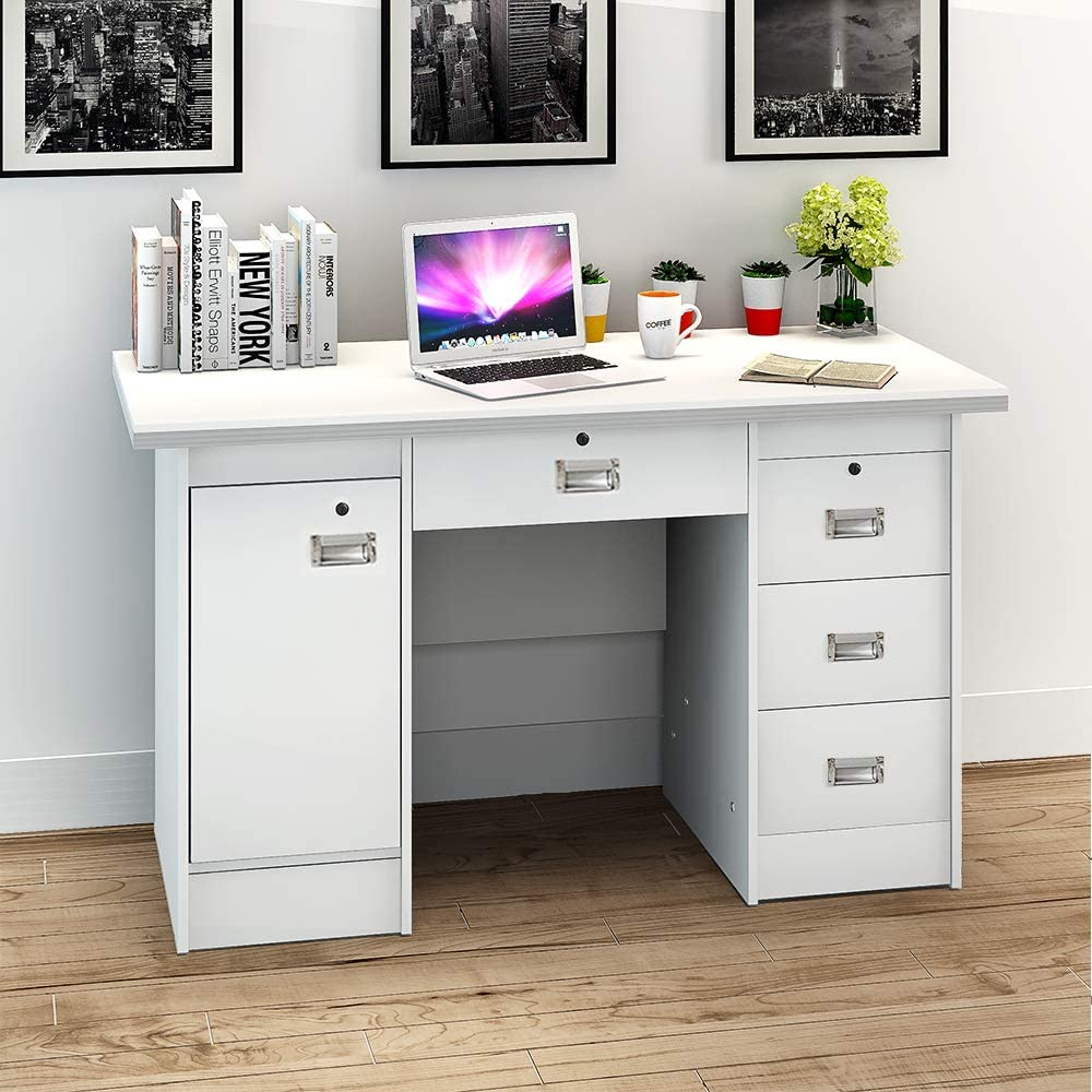PananaHome Computer Desk Wood Writing Table with Drawers and Cupboard Execution Study Workstation PC Laptop Gaming Table for Home Office Walnut