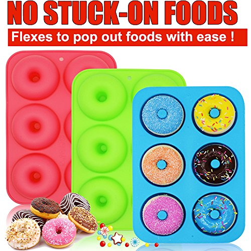 WALFOS 3 Pack BPA Free Silicone Donut Pan Molds,Non-Stick Safe Baking Pans for Full Size Perfect Shaped Doughnuts-Cake Biscuit Bagels Muffins-Dishwasher, Oven, Microwave, Freezer Safe