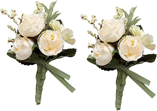 Pack of 2 MOJUN Groom Flowers Rose Boutonniere Corsage Brooch Wedding Rose Boutonniere Blue
