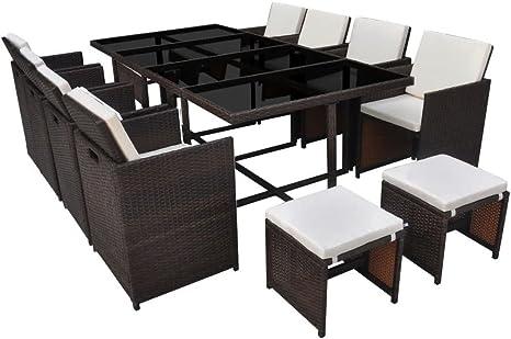 mewmewcat Conjunto Muebles de Jardín de Ratán 33 Piezas con Taburetes Sofa Exterior Ratan Conjunto para Jardín Terraza Patio Marrón y Blanco Crema: Amazon.es: Deportes y aire libre